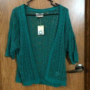 SONOMA blue turquoise shrug cardigan crochet